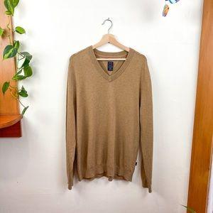 Oakley Cotton Cashmere Blend V Neck Tan Sweater XL